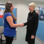 "Diane Teaching ""The Ultimate Greeting"" with Cassandra Harris, a student at Fanshawe College"